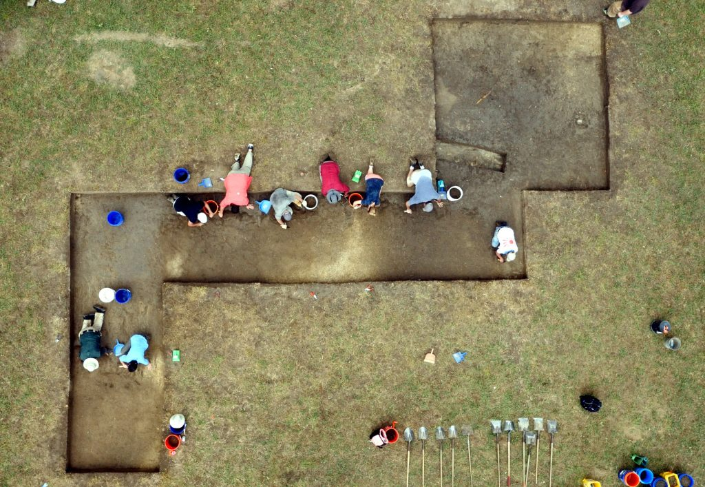 Excavating large basins at a Contact period site in Oktibbeha County (image courtesy of Chickasaw Nation)